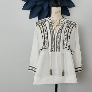Gibson Latimer size S white peasant top
